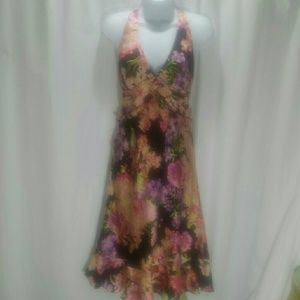 Kay Unger Silk Print Halter Dress